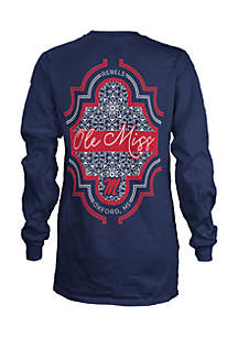 Long Sleeve Ole Miss Teagan Coastal Crew Tee