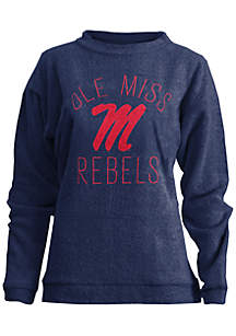 Ole Miss Rebels Thin Arch Mock Neck Twisted Terry Fleece Pullover
