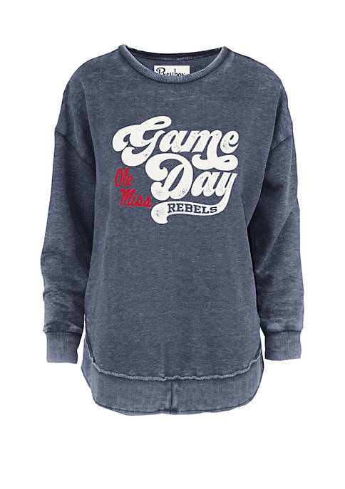 Ole Miss Retro Game Day Vintage Wash Fleece Pullover
