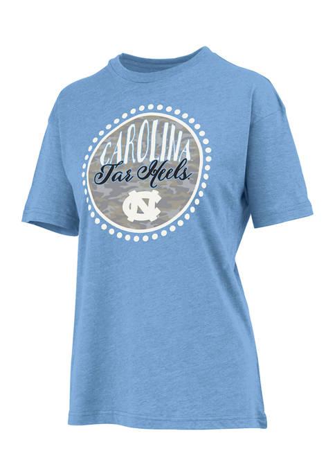 Womens NCAA North Carolina Tar Hills Curly Camo Short Sleeve T-Shirt