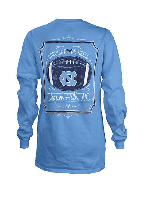 North Carolina Tar Heels Long Sleeve Framed Football T Shirt