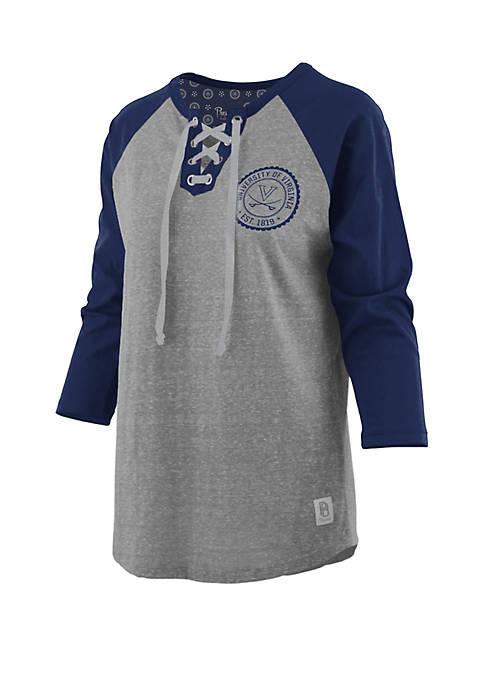 UVA True Knobi Lace Up Raglan Sleeve T Shirt