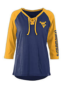West Virginia Mountaineers Skyler 3/4 Sleeve Lace Neck Tee