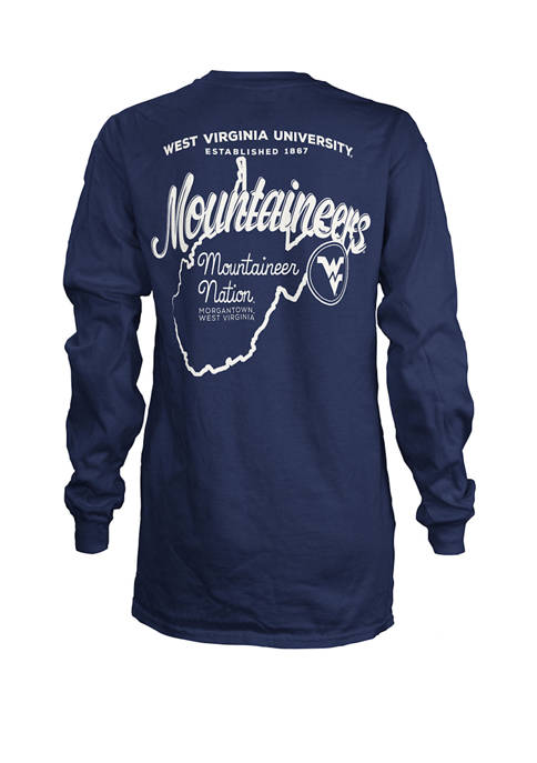 Womens NCAA West Virginia University Long Sleeve Jersey Graphic T-Shirt