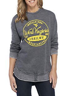West Virginia Mountaineers Surfer Stamp High-Low Fleece Sweater