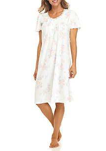 Silky Knit Flutter Sleeve Print Sleep Gown