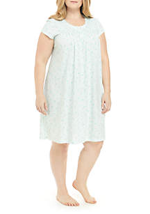 ... Miss Elaine Plus Size Silky Knit Short Night Gown 13d258951