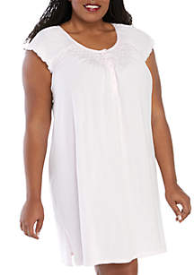 Miss Elaine Plus Size Silky Knit Short Night Gown