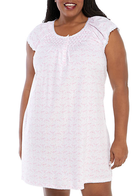 Plus Size Silky Knit Short Gown