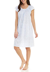 Miss Elaine Short Floral Silky Knit Night Gown