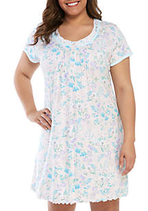 Miss Elaine Plus Size Floral Cottonessa Short Night Gown