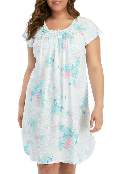 Miss Elaine Plus Size Smocked Night Gown