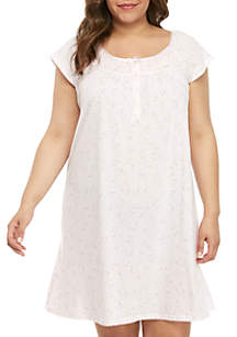 Miss Elaine Plus Size Silky Knit Short Nightgown