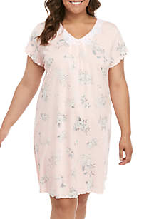 Miss Elaine Plus Size Cottoness Nightgown