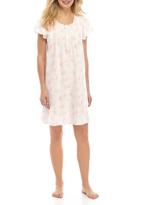 Womens Silky Knit Flutter Sleeve Print Short Gown