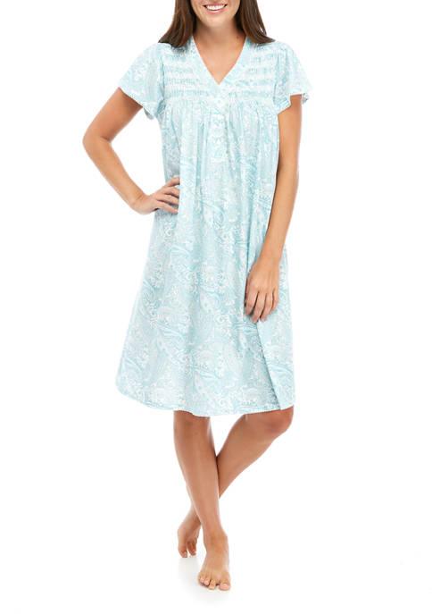 Miss Elaine Womens Silky Knit Short Gown