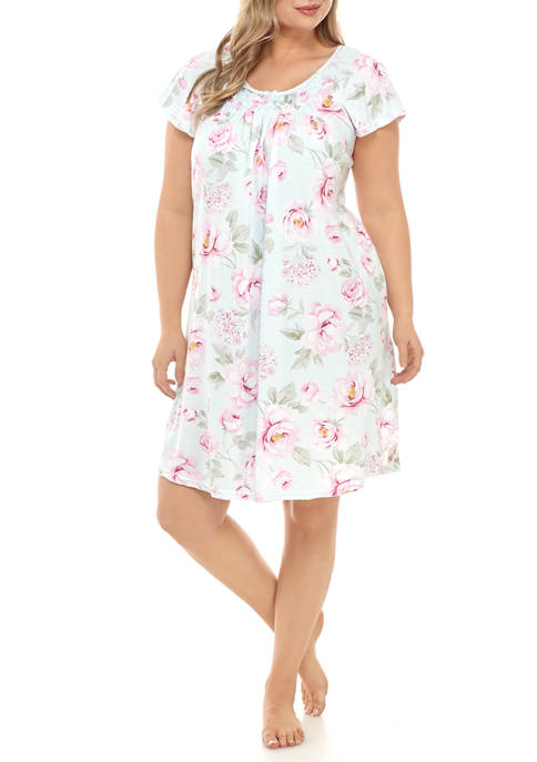 Miss Elaine Plus Size Cottonessa Short Sleep Gown