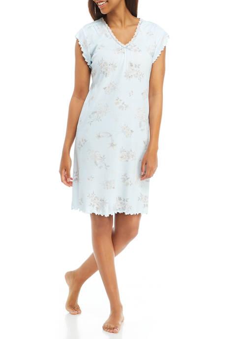 Aqua Printed Cottonessa Short Nightgown
