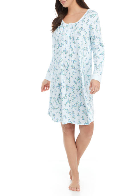 Blue Neutral Printed Short Nightgown