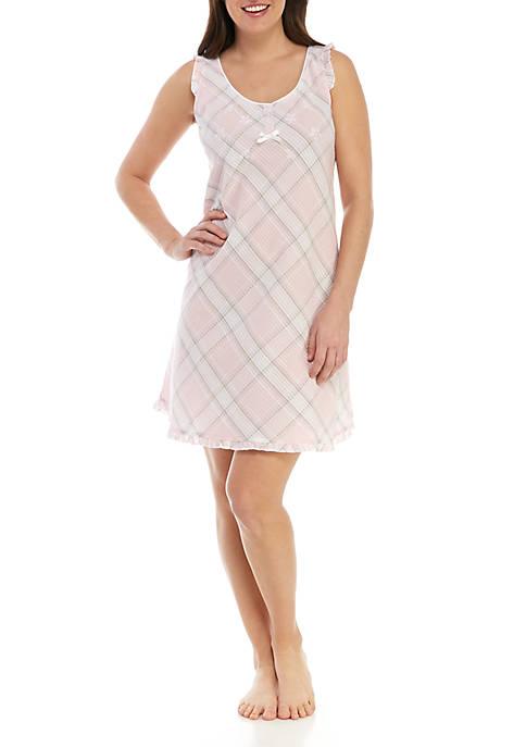 Miss Elaine Short Seersucker Nightgown