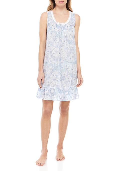 Cotton Lawn Floral Chemise Gown