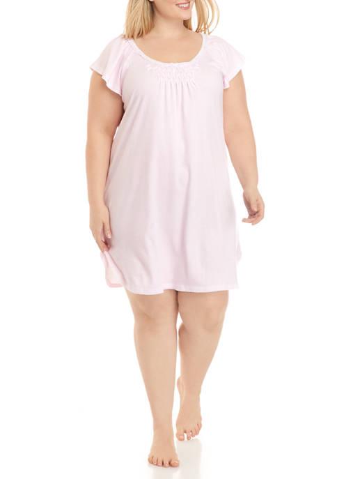 Miss Elaine Plus Size Cottonessa Short Nightgown