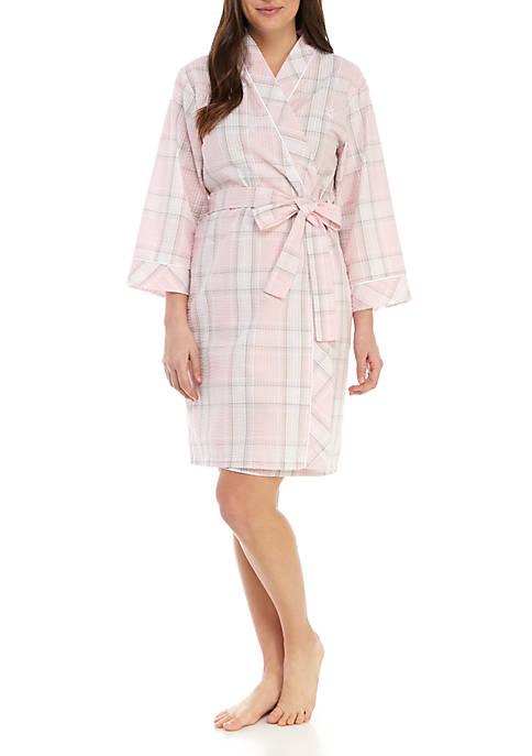 Short Seersucker Robe