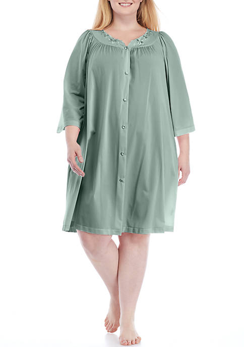 Miss Elaine Plus Size Nylon Embroidered Button Front