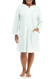 Plus Size French Terry Short Snap Robe