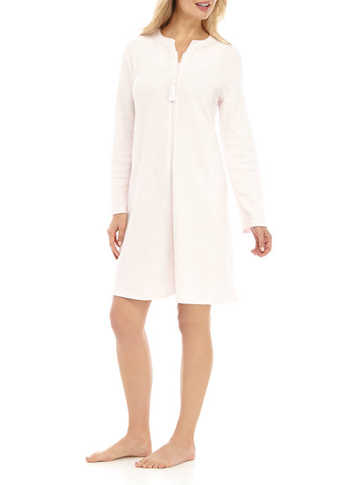 Miss Elaine Silky Waffle Knit Zip Robe