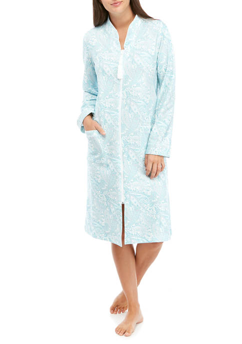 Miss Elaine Silky Knit Short Zip Robe