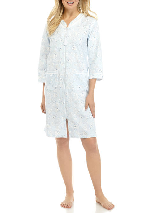 Silky Knit French Terry Zip Nightgown