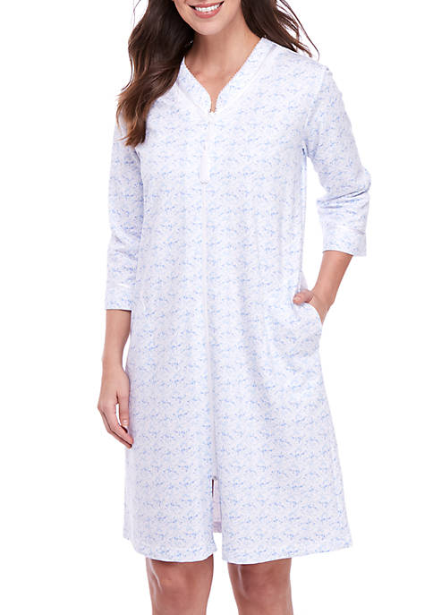 Miss Elaine Silky Knit Short Zip Robe