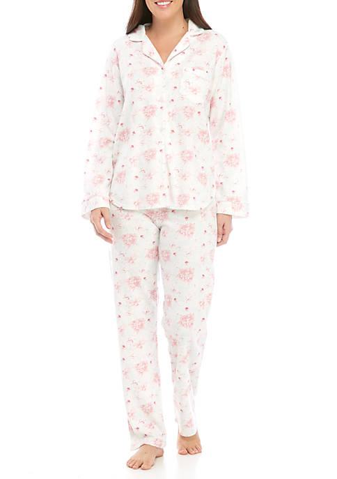 Miss Elaine Womens 2 Piece Honeycomb Print Pajama
