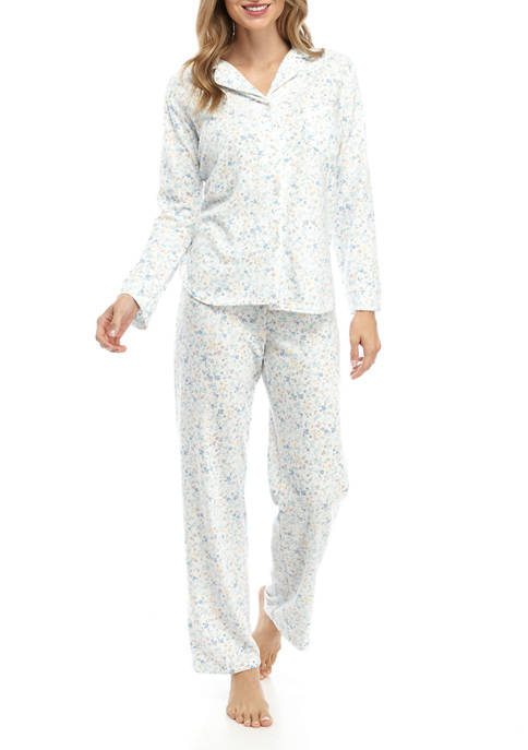 Miss Elaine 2 Piece Honeycomb Print Pajama Set