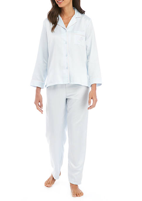 Miss Elaine Womens 2 Piece Long Sleeve Pajama