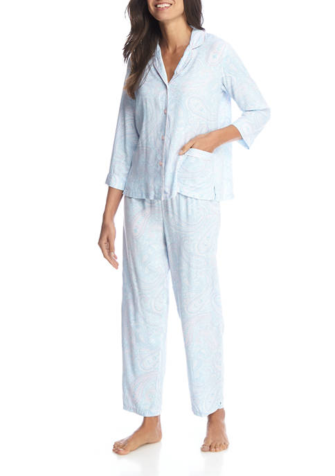 Miss Elaine Womens 2-Piece Paisley Notch Pajama Set