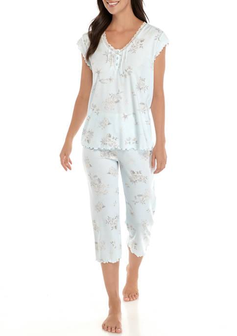 Womens Cottonessa Short Sleeve Floral Pajama Set