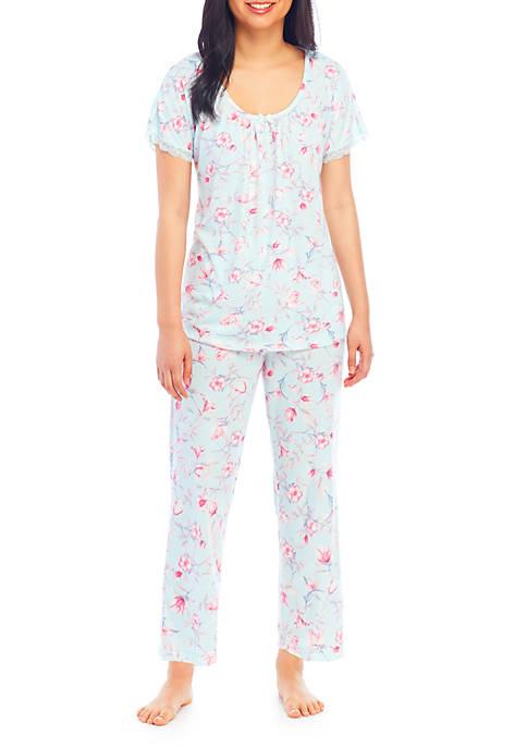 Miss Elaine 2 Piece Soft Knit Pajama Set