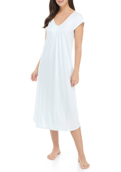 Miss Elaine Blue and White Cottonessa Long Nightgown
