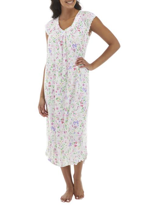 Floral Soft Knit Long Gown