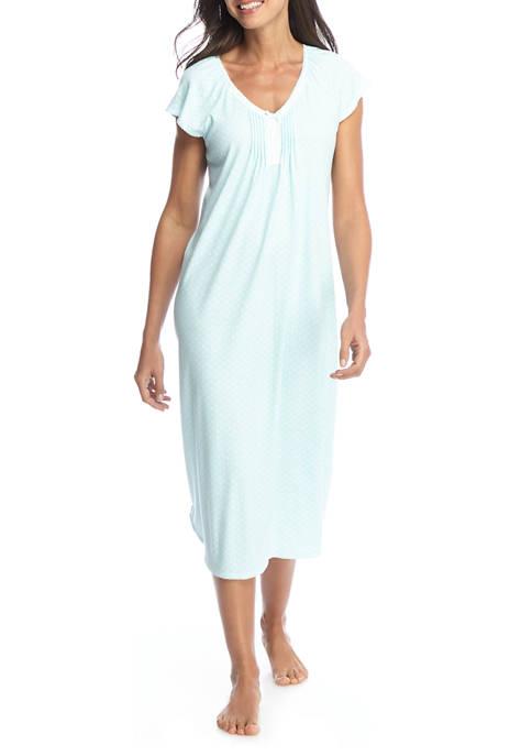 Miss Elaine Womens Short Sleeve Cottonessa Long Gown