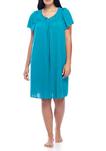 Plus Size Long Tricot Nylon Gown