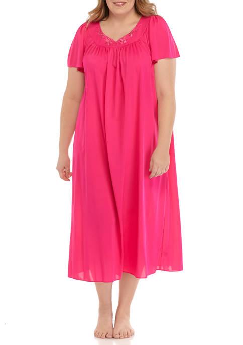 Miss Elaine Plus Size Long Tricot Nylon Gown