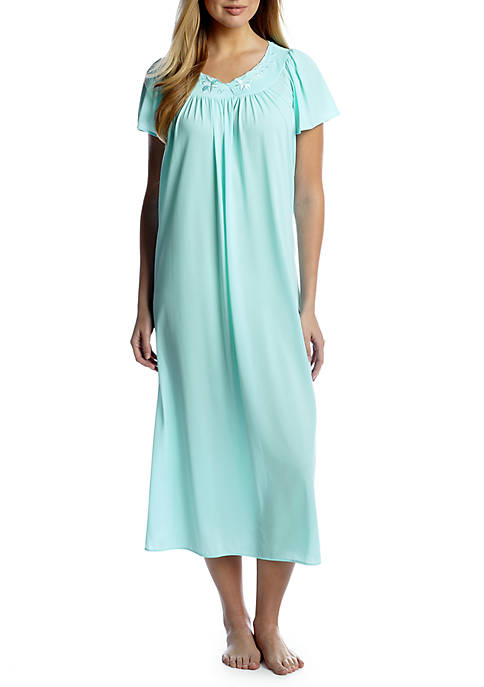 Miss Elaine Tricot Flutter Sleeve Long Nightgown