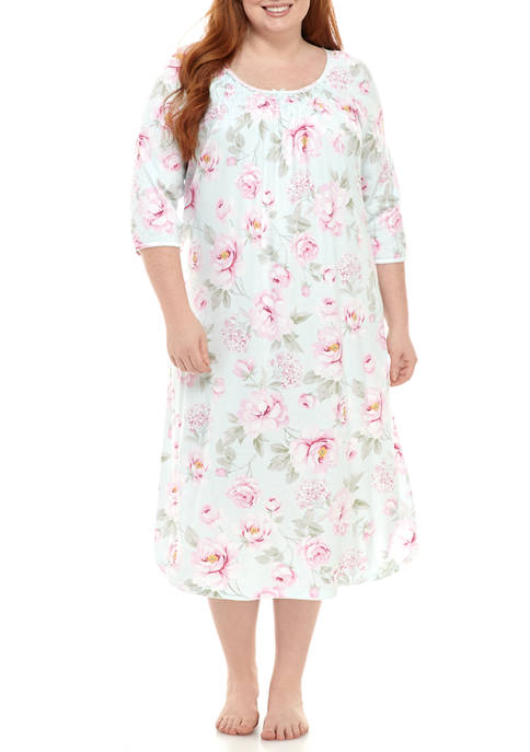 Miss Elaine Plus Size Cottonessa Mid Sleep Gown