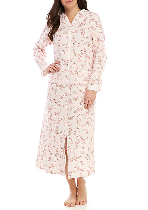 Quilted Knit Long Zip Robe