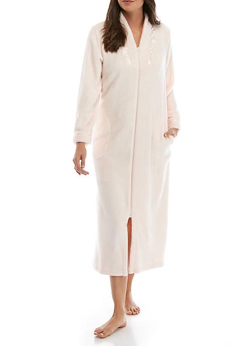 Womens Honeycomb French Fleece Zip Robe