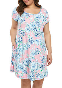 Miss Elaine Plus Size Interlock Floral Nightgown