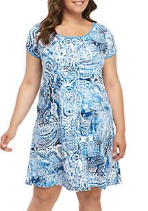 Miss Elaine Plus Size Interlock Short Nightgown